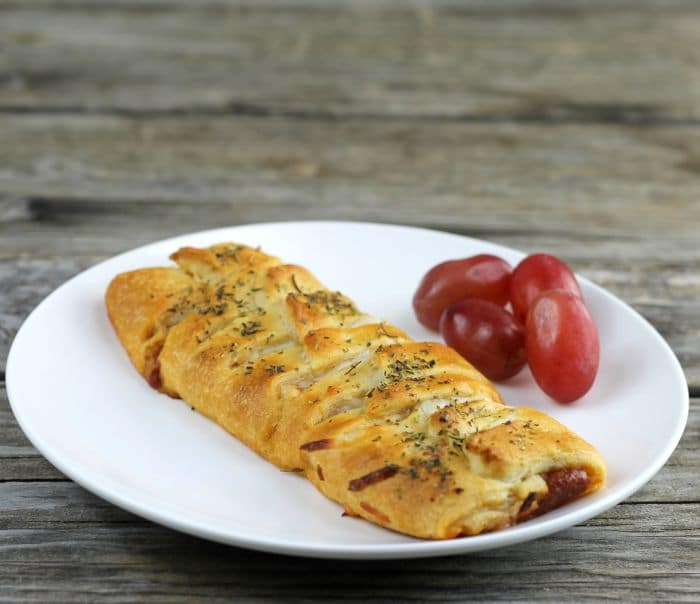 Crescent Roll Pizza Braid