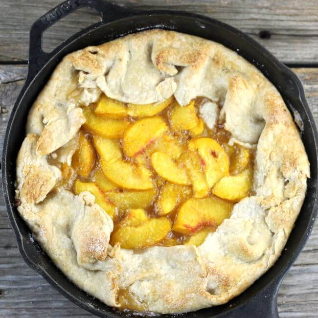 Baked galette in a cast iron skillet