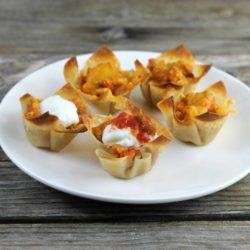 Wonton taco cups on a white plate.