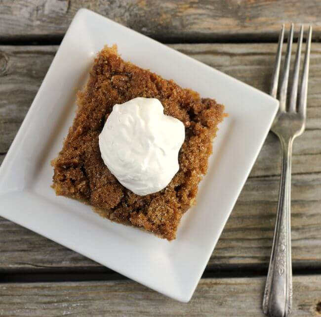 Top of apple cake with whipped cream on white plate with fork on side.