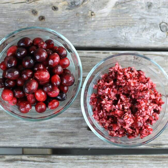 cranberries in two glass bowls.