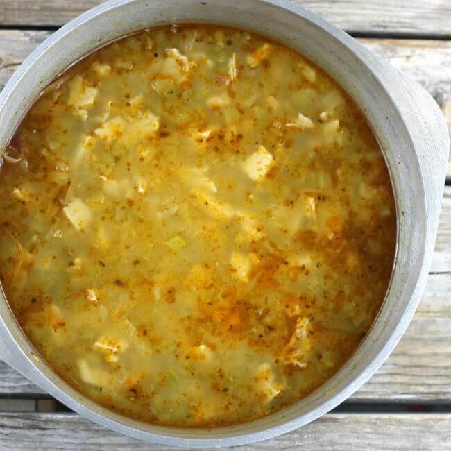 White chicken chili in a Dutch oven