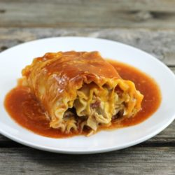 Chicken enchilada lasagna roll-up.