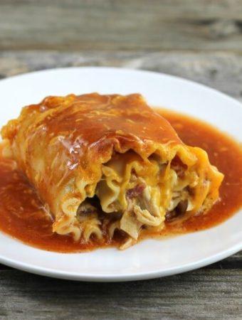 Chicken enchilada lasagna roll-up.