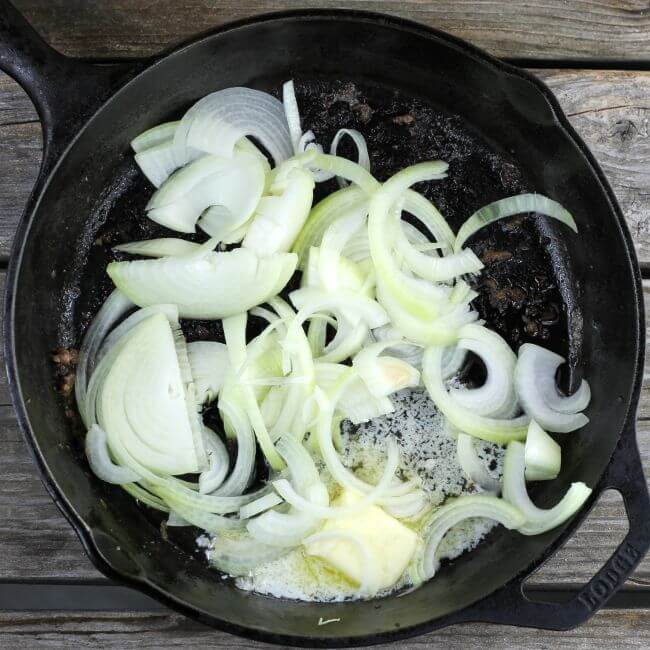 Onion and butter in a skillet.