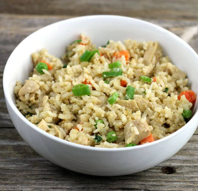 Fried rice in a white bowl.