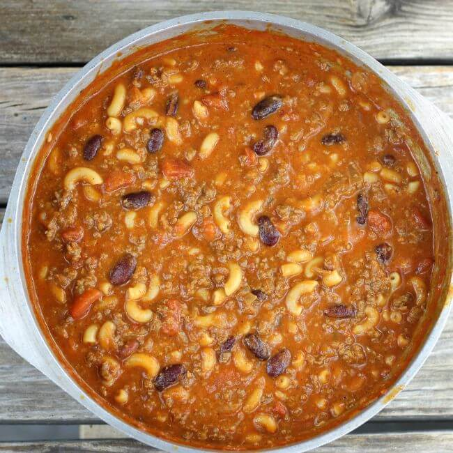 Chili mac is ready to serve.