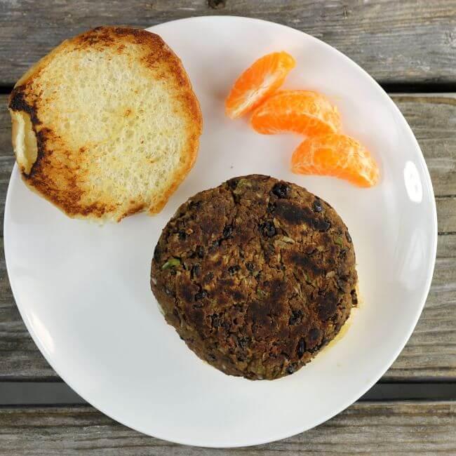 Balck Bean Burger on a bun.