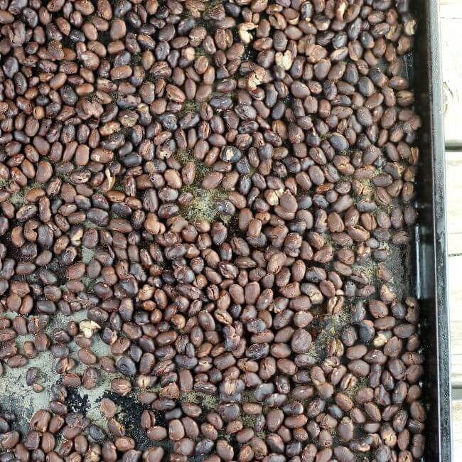 Balck beans on a baking pan.