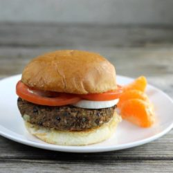 Side view of a black bean burger.