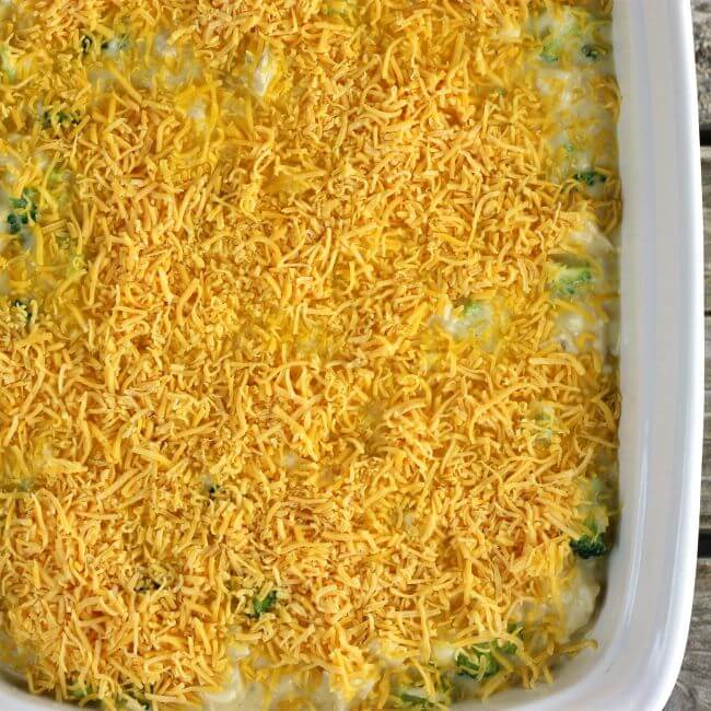 Cheese sprinkled over top of the casserole.