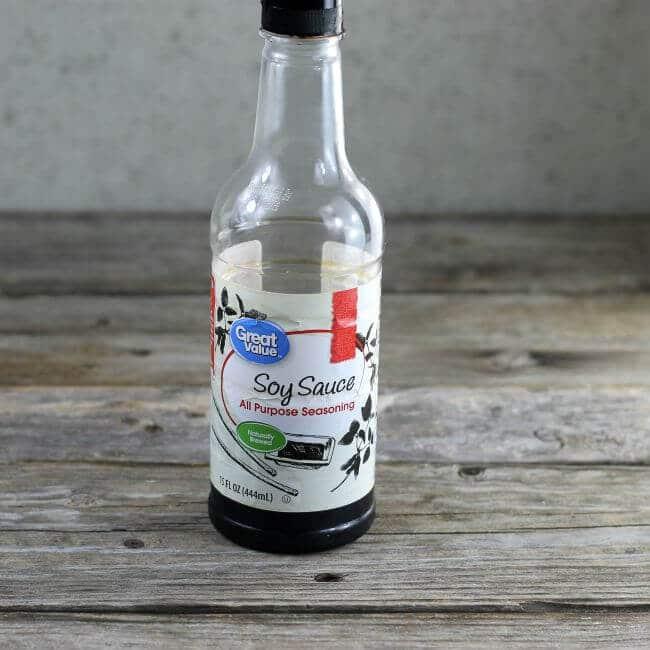 A bottle f soy sauce.