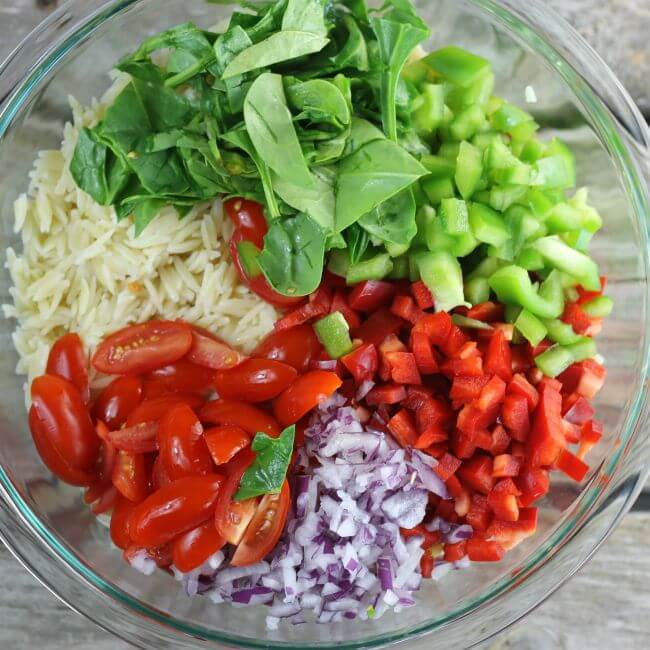 Adding vegetables to a bowl of cooked orzo.