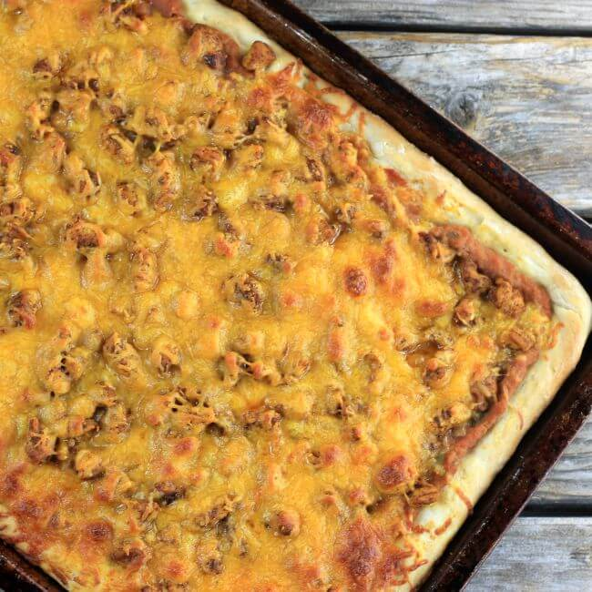 Baked taco pizza in the pan.