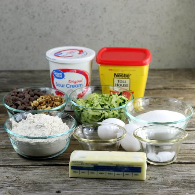 Ingredients for making chocolate zucchini cake.