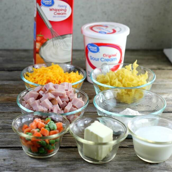 Ingredients for ham and noodle casserole.