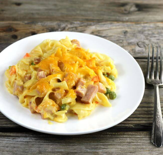 Side angle view of ham and noodle casserole on a white plate with a fork on the side.