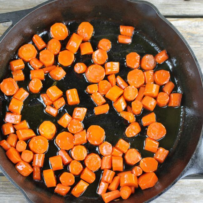 Glazed carrots in a skillet.