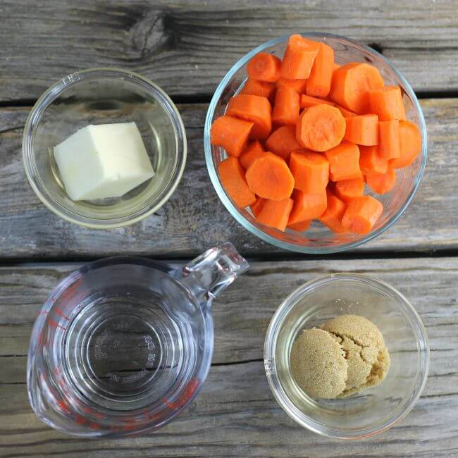 Ingredients for making glazed carrots.