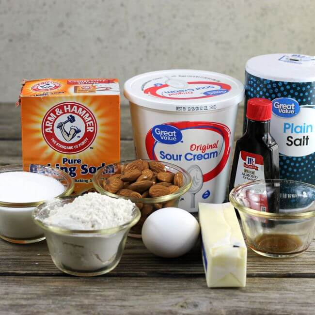 Ingredients for almond cookies.