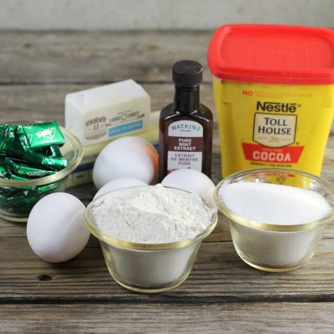Ingredients for mint brownies.