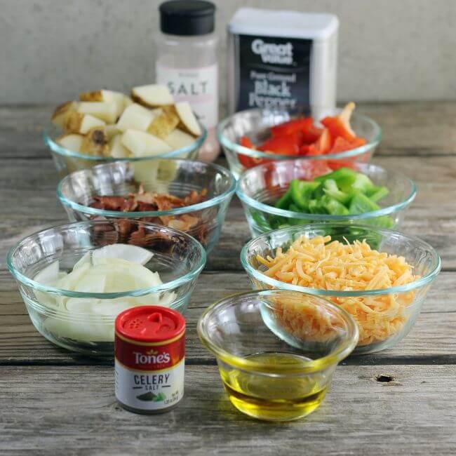 Ingredients for loaded baked potato skillet.