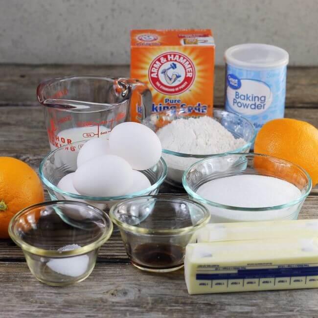 Ingredients for a orange pound cake.