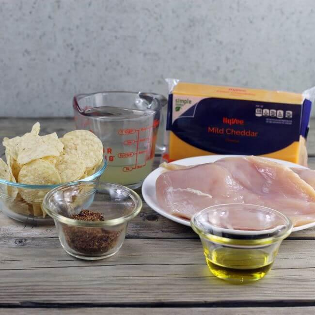 Ingredients for chicken nachos.