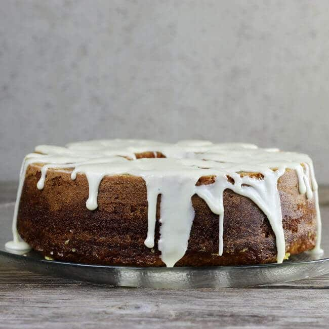 Side angle view of the orange pound cake.